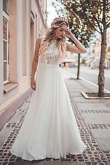 Šaty - Svadobné šaty s holým chrbátom do V - 10881643_