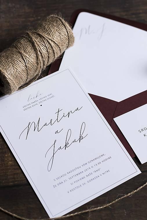 Minimalistické svadobné oznámenie