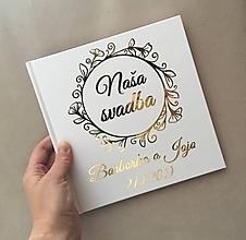 Papiernictvo - Biela svadobná kniha hostí - flower - 10882543_