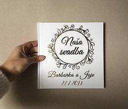 Papiernictvo - Biela svadobná kniha hostí - flower  (Biela 48 strán s textom) - 10882570_