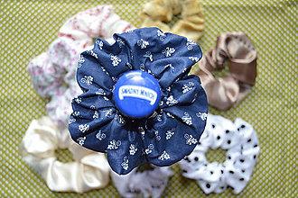 Ozdoby do vlasov - Modrá Retrogumička s ľudovým vzorom - BAVLNA - 10884269_