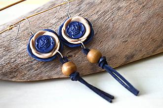 Náušnice - modré natur náušnice s kožou - 10882571_