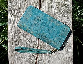 Peňaženky - Dámská korková peněženka BLUE - 10884141_