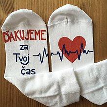 """Obuv - Maľované ponožky pre najlepšiu (doktorku s nápisom: """"ďakujeme za tvoj čas"""") - 10881994_"""