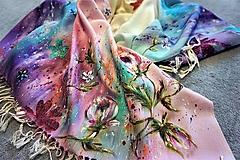 Šatky - maľovaná šatka - vintage ruže - 10886639_