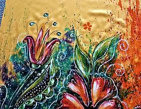 Šatky - maľovaná šatka - lúka - 10886711_