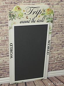 Tabuľky - Maxi tabuľa na cestovateľské magnetky :Trip around the world (Ruže) - 10884326_