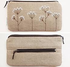 Peňaženky - Peňaženka - Kvitnúca tráva (natur 100% ľan) - 10884493_