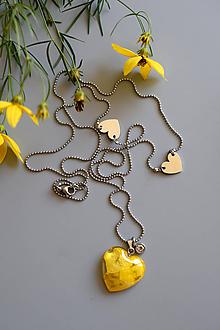 Náhrdelníky - Náhrdelník Žltý iskerník srdce (2631 A CHO) - 10885659_