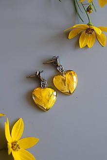Náušnice - Náušnice Žltý iskerník srdiečka (2631 B CHO) - 10885702_