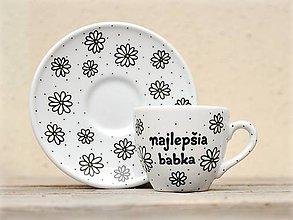 Nádoby - Porcelánová šálka s podšálkou na kávu 80 ml - Sedmokrásky - 10886246_