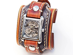 Náramky - Vintage hnedo čierne kožené hodinky,remienok z pravej kože - 10886512_