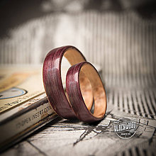 Prstene - Drevená obrúčka - amaranth / kučeravá breza - 10885923_