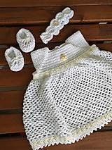 Detské súpravy - Set do krstu - šaty, čelenka, balerínky (100% bavlna) - 10884310_