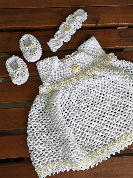 Set do krstu - šaty, čelenka, balerínky (100% bavlna)
