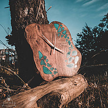 Hodiny - Drevené dekoračné hodiny - RAW Resin 6 - 10886623_