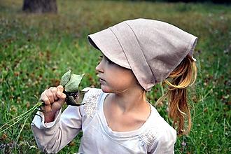 Detské čiapky - Šatka proti slnku 100% ľan staroružová - 10884574_