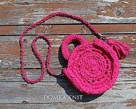 Kabelky - Ružová háčkovaná kabelka - 10887029_