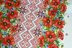 """Textil - Látka """"Maková výšivka"""" 4 bordúry - 10889014_"""