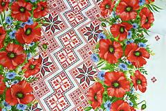 """Textil - Látka """"Maková výšivka"""" 4 bordúry - 10889019_"""