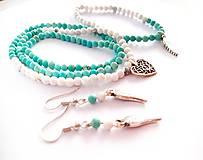 Sady šperkov - Set tigrie oko amazonit prírodný kameň - 10888686_