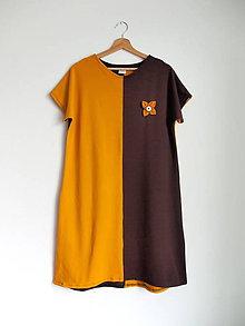Šaty - Šaty horčicové s bordovohnedou + brošňa - 10887405_