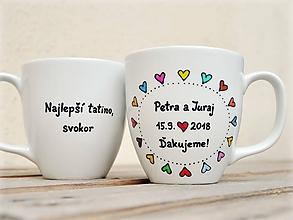 Nádoby - Hrnčeky srdiečkové pre svadobných rodičov - 10887923_