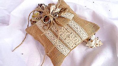 Prstene - Svadobný vankúšik pod obrúčky - morské mušle - 10888653_