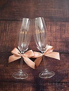 Nádoby - Svadobné poháre s menami vodorovne Golden rose - 10888553_
