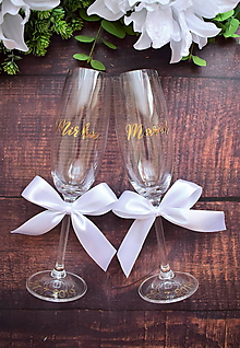 Nádoby - Svadobné poháre zlaté s menom-vodorovne - 10888710_