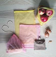 Nákupné tašky - Nákupný komplet eko vreciek na zeleninu - premium (Prírodná hnedá - yellow / rose) - 10887937_