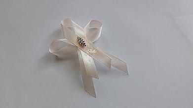 Pierka - Béžové svadobné pierko so štrasovým kamienkom - 10888293_