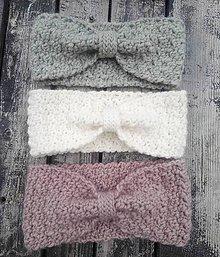 Ozdoby do vlasov - Háčkované vlnené čelenky (Šedá) - 10887740_