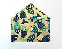 Úžitkový textil - Voskované vrecko s gombíkom - Ryby - 10888148_