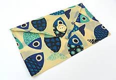 Úžitkový textil - Voskované vrecko s gombíkom - Ryby - 10888149_