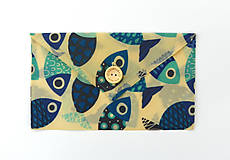Úžitkový textil - Voskované vrecko s gombíkom - Ryby - 10888150_