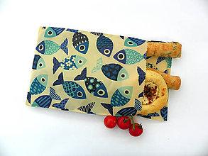 Úžitkový textil - Voskované vrecko - Ryby - 10887544_