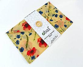 Úžitkový textil - Voskované vrecko s gombíkom - Kvety, maky - 10888194_