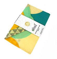 Úžitkový textil - Voskované vrecko s gombíkom - Farebné oblúky - 10888217_