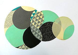 Úžitkový textil - Kruhový voskovaný obrúsok - Farebné oblúky - 10888276_