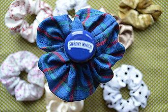 Ozdoby do vlasov - Modrá Retrogumička s karovaným vzorom - BAVLNA - 10888769_