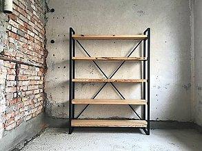 Nábytok - Industriálny Regál,Úžasná polica z masívu, Štylový design - 10887574_