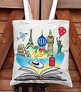 Iné tašky - Plátená taška - cestovateľka, knihomoľ - 10887104_