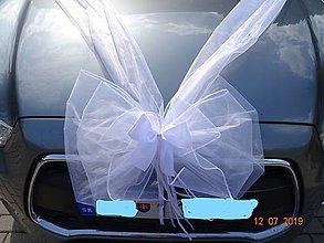 Dekorácie - Trojitá  mašla a mašlička - výzdoba svadobného autá - 10887342_