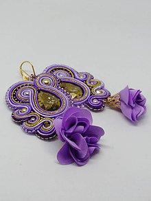 Náušnice - Šujtášové náušnice fialové - 10888000_