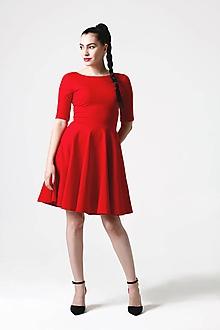 Šaty - Šaty Midi s kruhovou sukňou červené - 10890791_