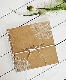 Papiernictvo - Svadobná kniha hostí - ornament na hnedej 20x20 - 10890387_