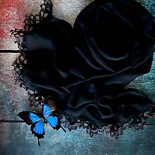 Šály - Soumrak motýlů - čierny šál hodvábny - 10889463_