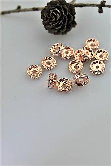 Korálky - korálka štras 10mm - farba červené zlato - 10889312_