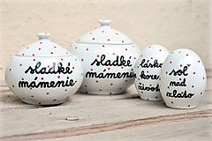 Nádoby - Soľnička + korenička + cukornička s nápisom - 10890685_